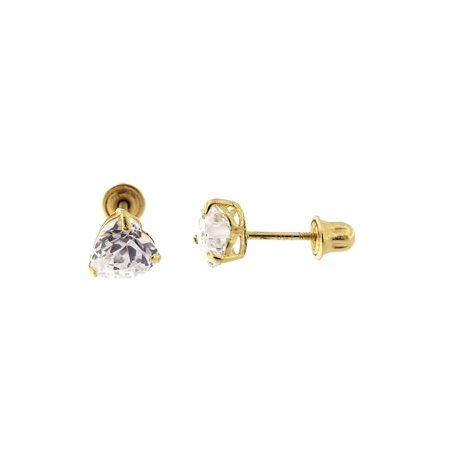 14k Yellow or White Gold Cubic Zirconia Heart Stud Earrings with Child Safe Screwbacks
