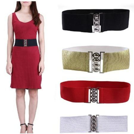 "Women's Elastic Cinch Belt 3"" Wide  Fashion Stretch Waist Band Clasp Buckle New"