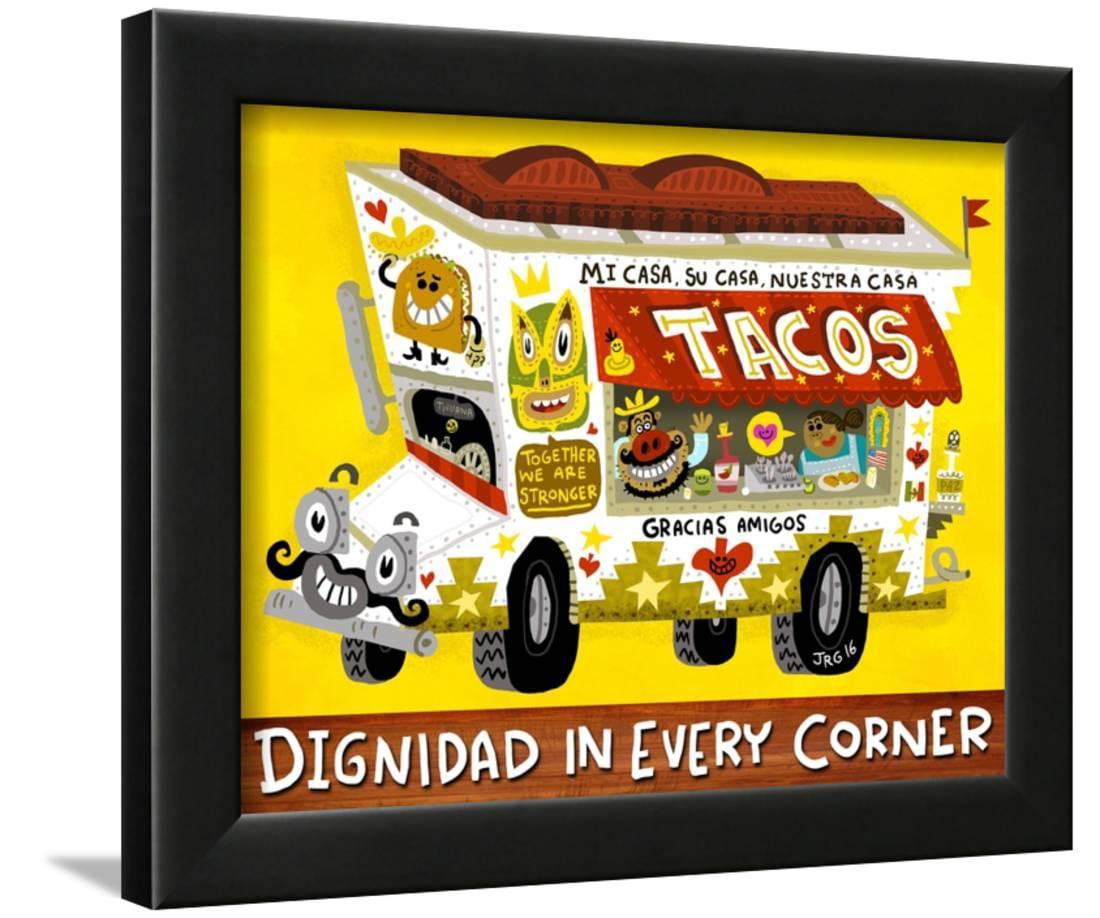 Taco Truck Framed Print Wall Art By Jorge R. Gutierrez - Walmart.com