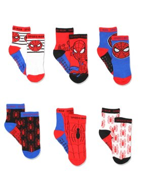 Super Hero Adventures Spider-Man Boys 6 pack Socks with Grippers SPN203
