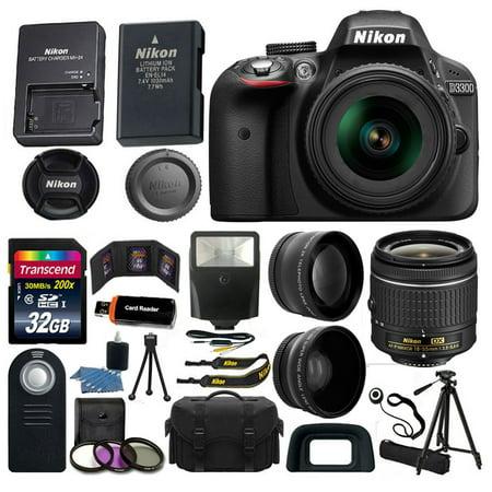 Nikon D3300 Digital SLR Camera 3 Lens Kit 18-55 AF-P DX Lens + 32GB Value
