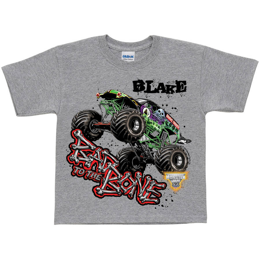 Personalized Monster Jam Bad To The Bone Boys' T-Shirt, Grey - S, M, L, XL