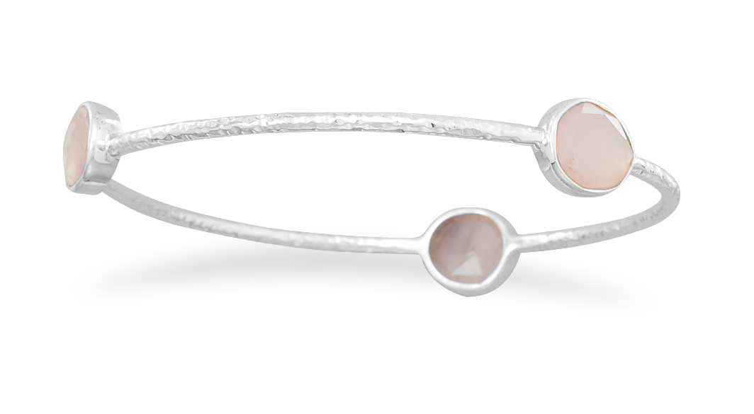 Stackable Bangle Bracelet Pink Chalcedony Hammered Textured Sterling Silver by unknown