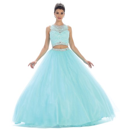 TWO PIECE QUINCEANERA BALLROOM GOWN Two Piece Bridesmaid Gowns