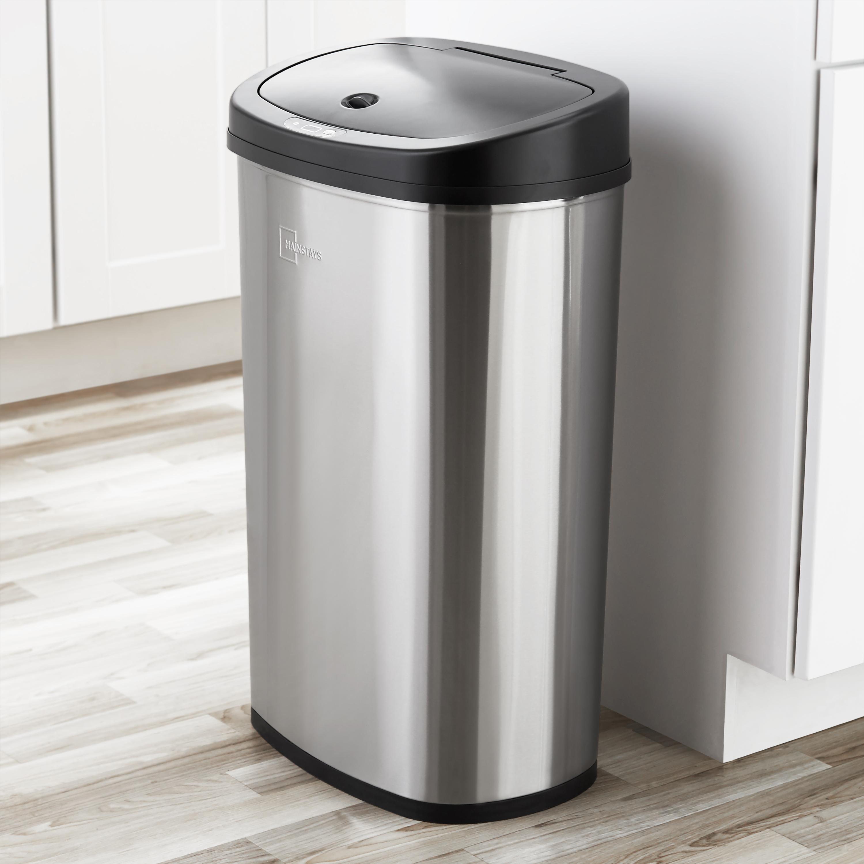 Mainstays 13 2 Gal 50l Motion Sensor Oval Trash Can Fingerprint Resistant Stainless Steel Walmart Com Walmart Com
