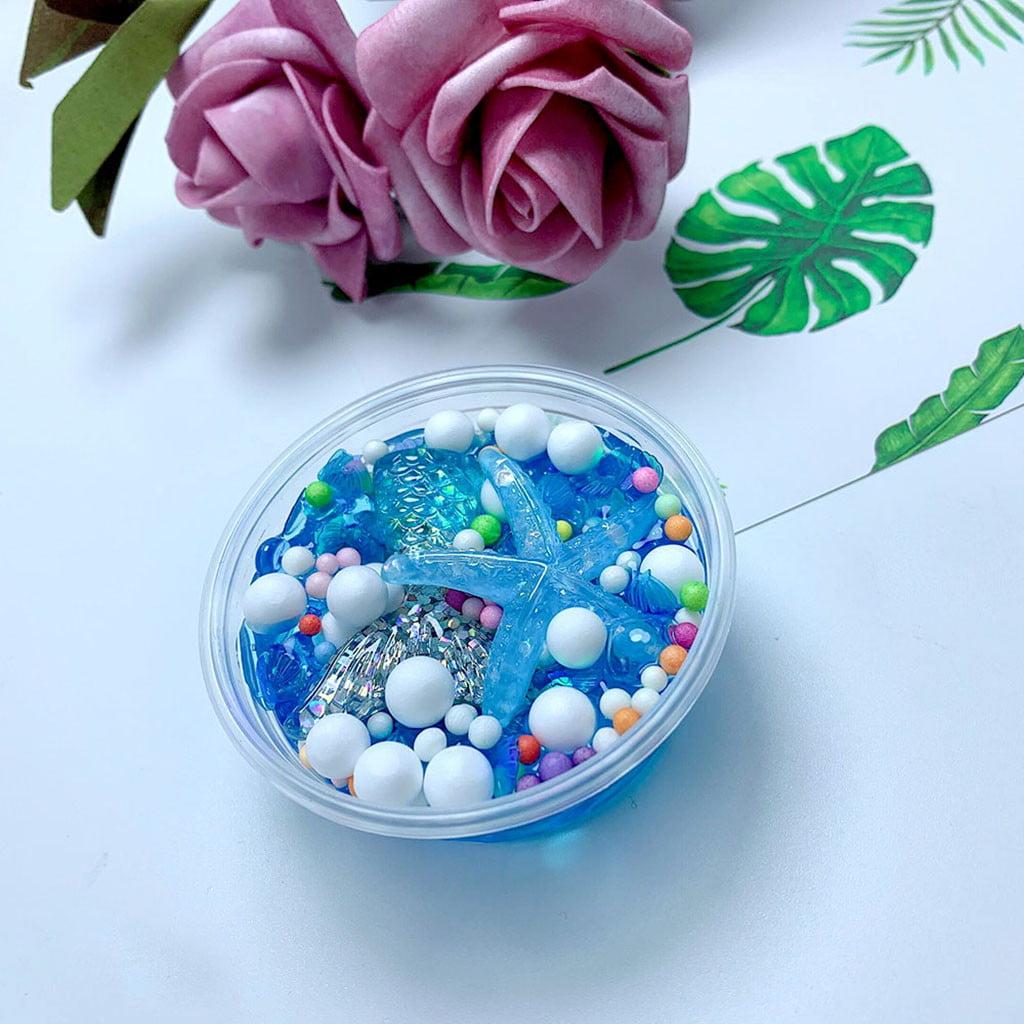 Tuscom Fluffy Mud Mermaid Tail Charms Fishbowl Mermaid Bubble Bath Slime Toy Gift