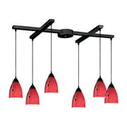 Classico 6-Light H-Bar Pendant Fixture in Dark Rust with Fire Red Glass