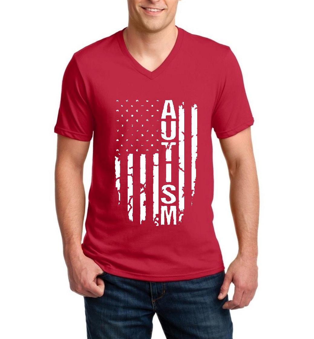 Autism Flag American Flag Autism Awareness Match w Support Autism Gift Products Men V-Neck Shirts Ringspun