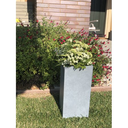 Durx-litecrete Lightweight Concrete Tall Light Grey Planter-Medium