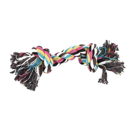Bone Pet Toy - Multicolored Cotton Blends Knotted Rope Bone Dog Puppy Pet Toy 18cm Long