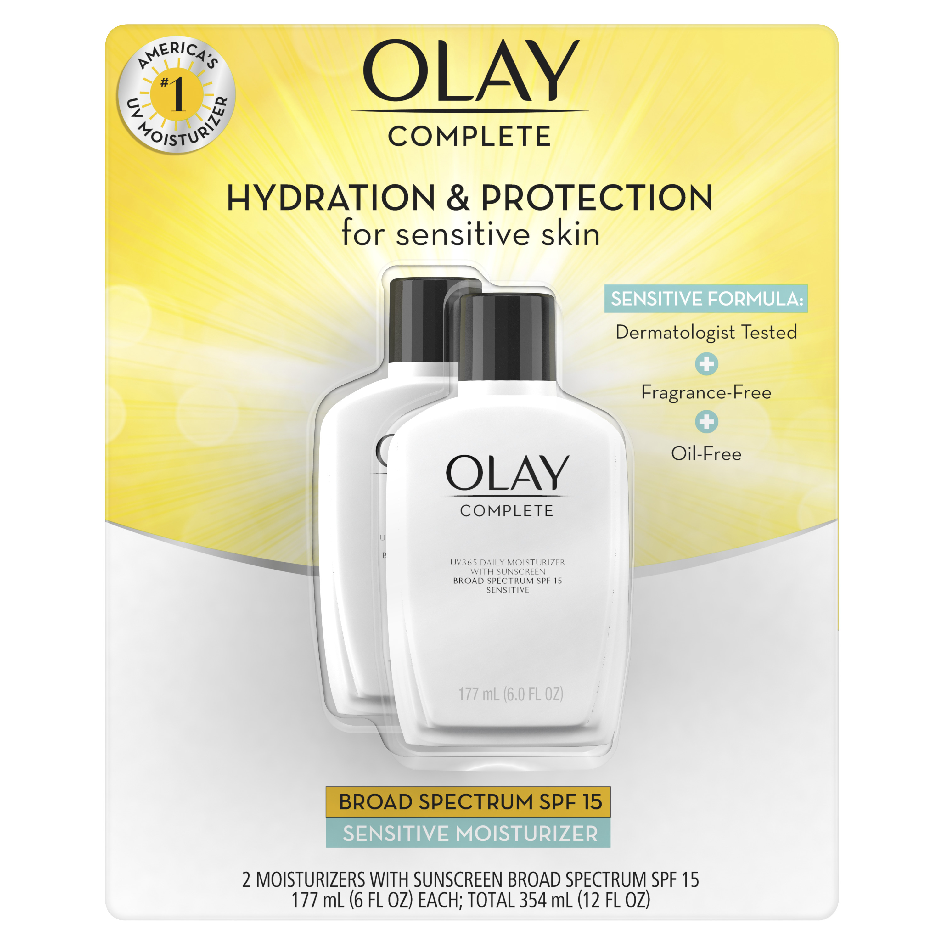 Olay Complete Lotion Moisturizer with SPF 15 Sensitive, 6.0 oz, Pack of 2
