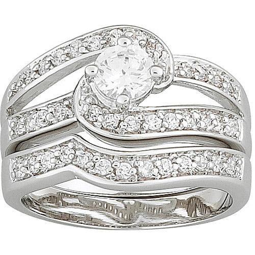 1.3 Carat T.G.W. Round Swirl CZ Silver-Tone Wedding Ring Set