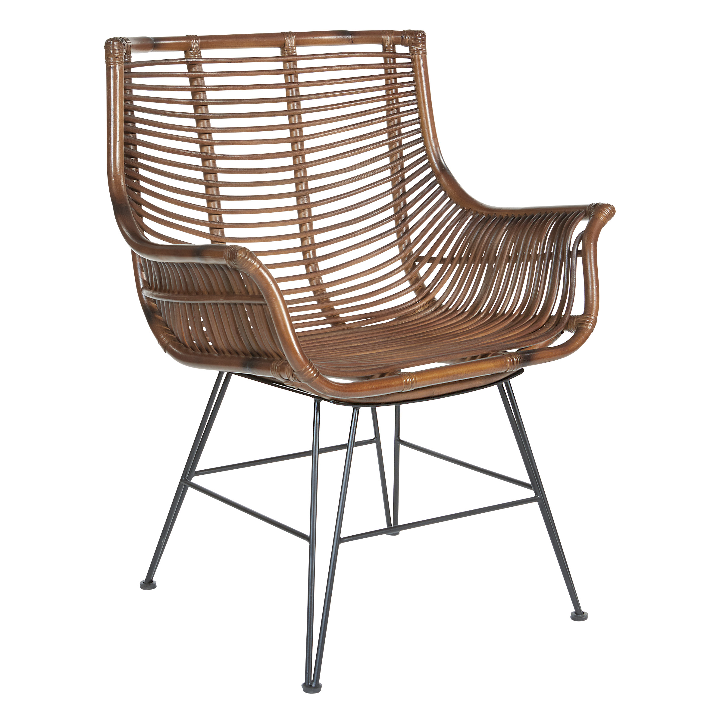 Brown rattan chair with metal legs