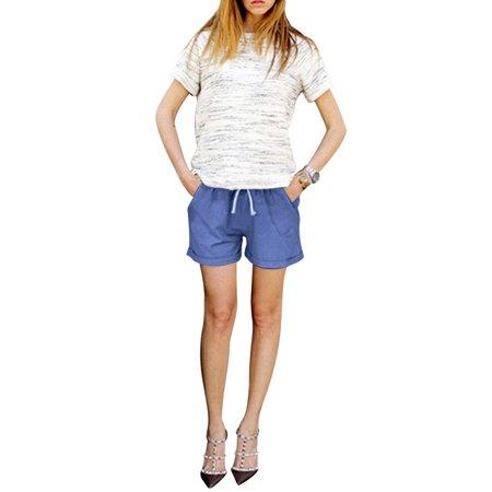Drawstring Plus Size Shorts - Casual Womens Ladies Elastic Waist Drawstring Beach Loose Shorts Hot Pants Plus Size M-6XL