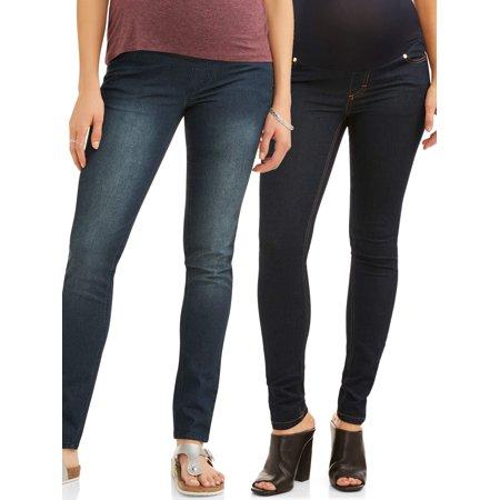 Maternity Full Panel Skinny Leg Jeans 2 Pack