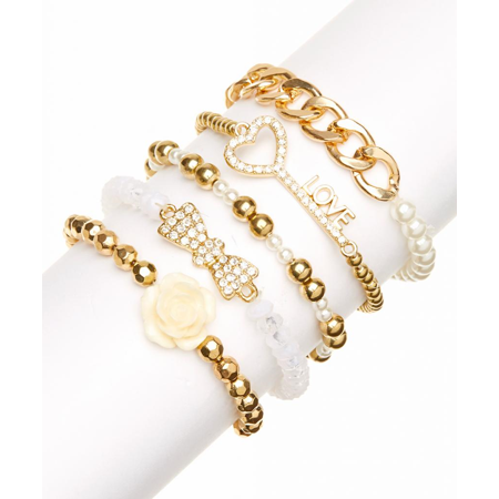 - Lux Accessories Faux Faux Pearl Love Heart Key Rose Flower Floral Floral Beaded Rhinestone Arm Candy Stretch Multi Bracelet Set