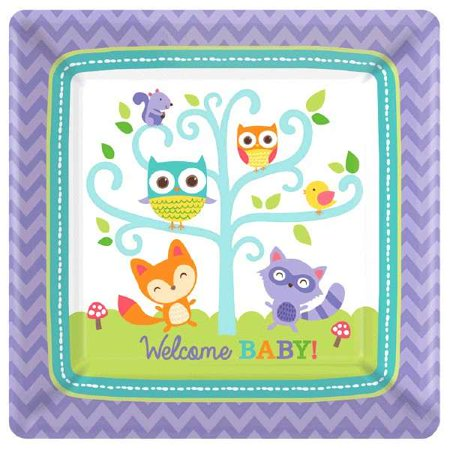 Baby Shower 'Woodland Welcome' Small Paper Plates (8ct) - Owl Baby Shower Plates