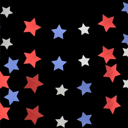 Quasimoon 4th of July Red, Silver and Blue Glitter Paper Star Garland Banner (11FT) by PaperLanternStore ()