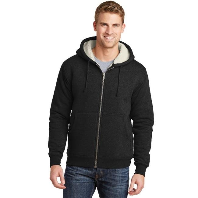 CS625 Heavyweight Sherpa Lined Hooded Fleece Jacket, Black - Medium