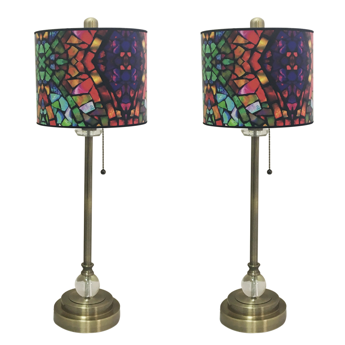 "Royal Designs 28"" Crystal and Antique Brass Buffet Lamp with Mosaic Stained Glass Design Hardback Lamp Shade, Set of 2"