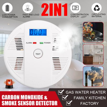 2 in 1 Combination Carbon Monoxide CO & Smoke Sensor Detector Sound & Flash Alarm Home Security Warning Gas Smart prompt Battery-Operated - image 7 de 7