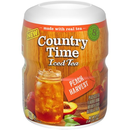 (4 Pack) Country Time Sugar-Sweetened Peach Tea Powdered Soft Drink, 19 oz Tray