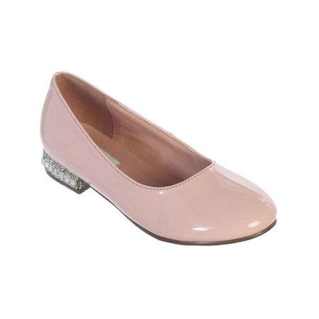 - Girls Blush Glitter Rhinestone Jeweled Heel Patent Leather Flats