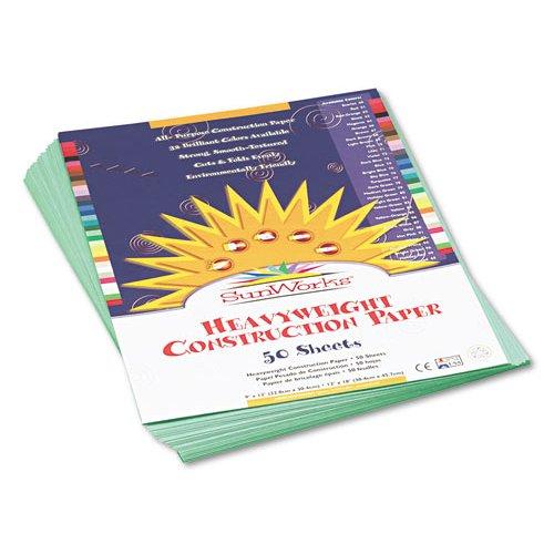 "Construction Paper, 9""x12"", 50Shts, 50/PK, Med Green PAC7903"