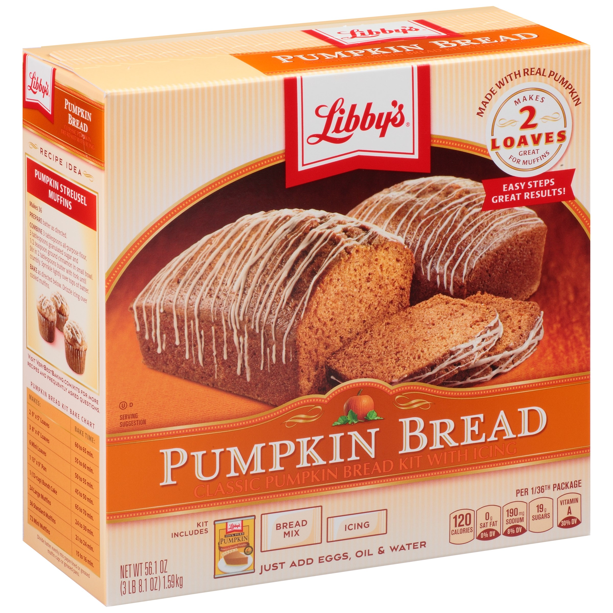 Libby's Pumpkin Bread Kit with Icing, 56.1 Oz