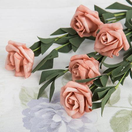 With 5 Heads Roll Heart Roses Foam Flower Fake Flower Wedding Home Garden Decor (Rose Garden Heart)