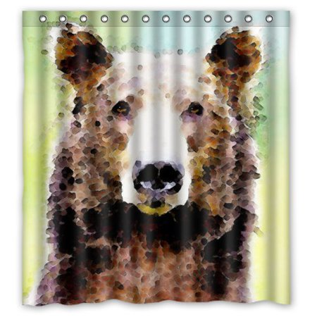 EREHome brown bear Shower Curtain Polyester Fabric Bathroom Decorative Curtain Size 66x72 Inches - image 1 of 1