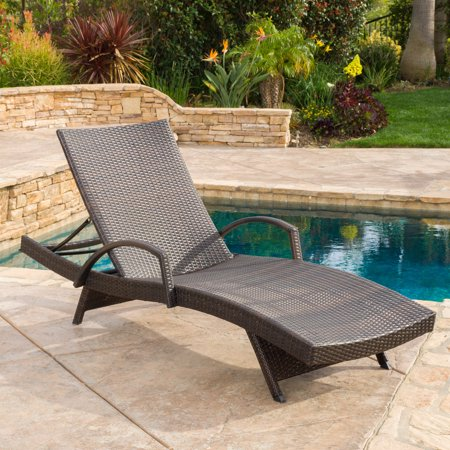 Noble House Anthony Outdoor Wicker Adjustable Chaise Lounge with Arms, Multibrown