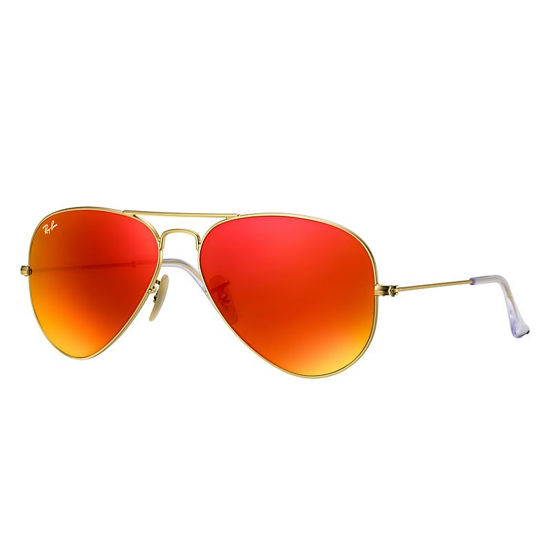 Ray-Ban RB3025 Classic Aviator Sunglasses, 55MM, Flash Lens
