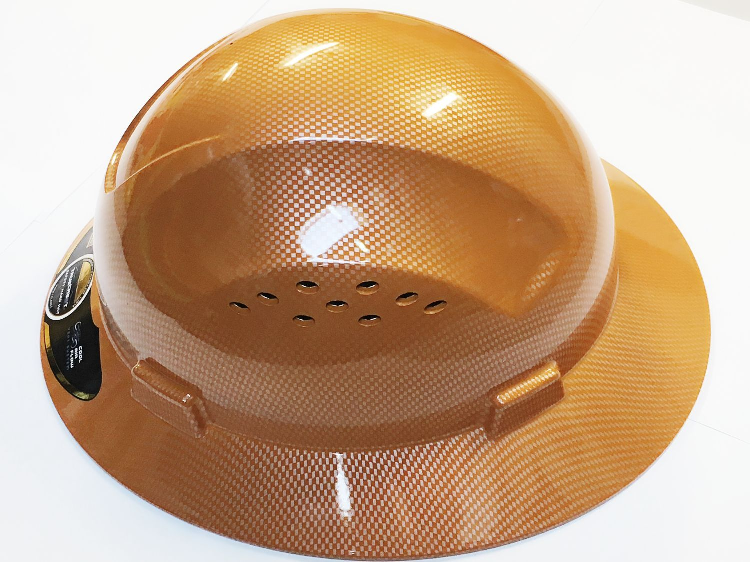 HDPE Natural Tan Full Brim Hard Hat with Fas-trac Suspension by