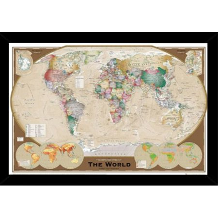 World map tripel poster in a black poster frame 24x36 walmart world map tripel poster in a black poster frame 24x36 gumiabroncs Image collections