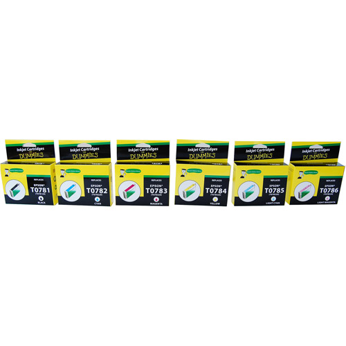 For Dummies - Epson T078 (781,782,783,784,785,786) Inkjet Cartridges- BK and Colors 6 pack, Remanufactured