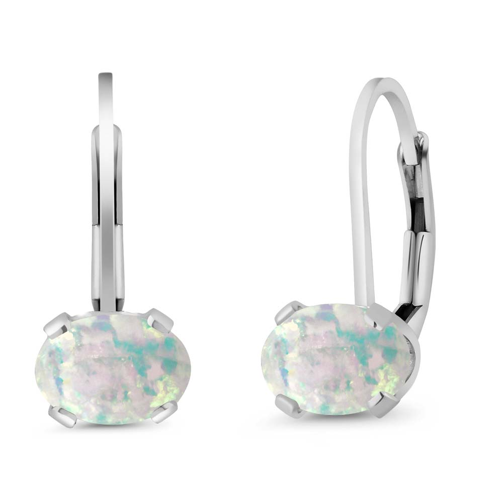1.26 Ct Oval White Simulated Opal 925 Sterling Silver leverback Earrings
