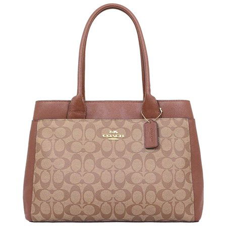 - NEW WOMEN'S COACH (F31475) SIGNATURE BROWN KHAKI SADDLE PVC CASEY TOTE HANDBAG