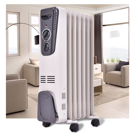 Costway 1500W Electric Oil Filled Radiator Space Heater 5.7 Fin Thermostat Room