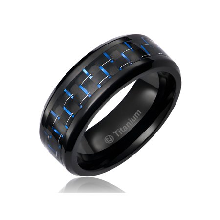Mens Wedding Band in Titanium 8MM Ring Black Plated with Black and Blue Carbon Fiber Inlay Seal Mens Ring