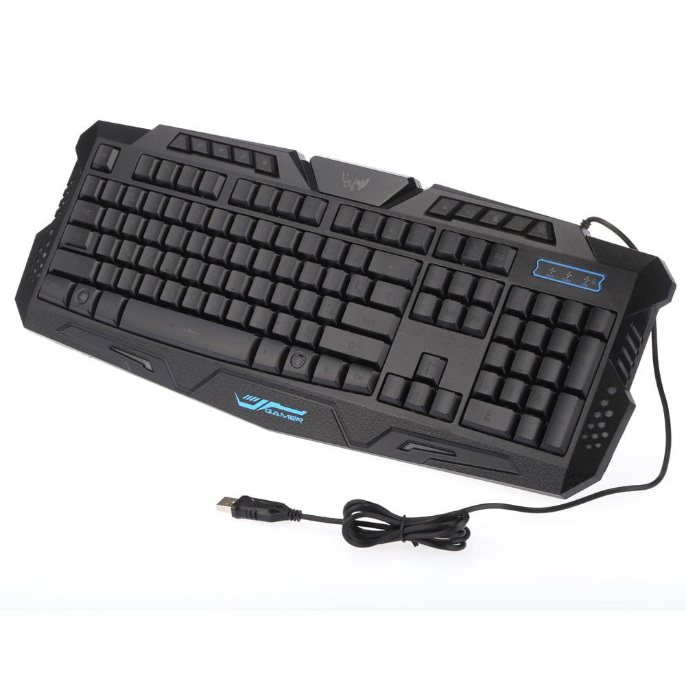 KKmoon Russian Version Wired LED Adjustable 3 Colors Backlit Backlight Gaming Keyboard for Win7/8/Vista/XP/OSX