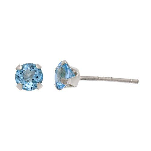 Blue Topaz 4mm Round Earring