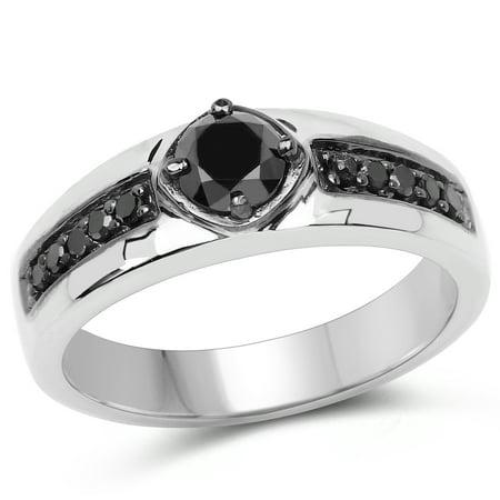 0.65 ct. Genuine Black Diamond Sterling Silver Ring - 0.65 Ct Diamond Center