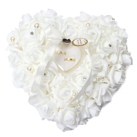 Wedding Heart Ring  Box With Ribbon Pearl Wedding Ceremony For Wedding Supplies Gift - Pearl Heart Jewelry Box