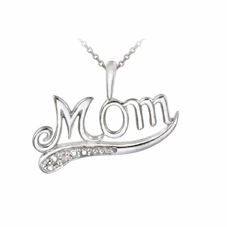 Diamond Accent Sterling Silver Mom Pendant  18