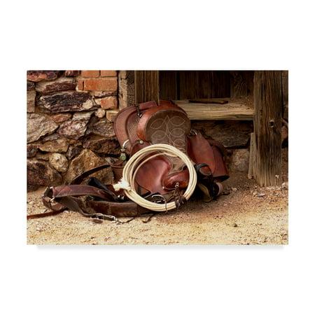 Smiths Saddle - Trademark Fine Art 'Head Wranglers Saddle' Canvas Art by Amanda Smith