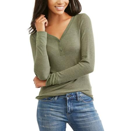90a07433b Faded Glory - Women's Long Sleeve Thermal Henley T-Shirt - Walmart.com
