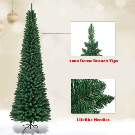Gymax 8Ft PVC Artificial Pencil Christmas Tree Slim w ...