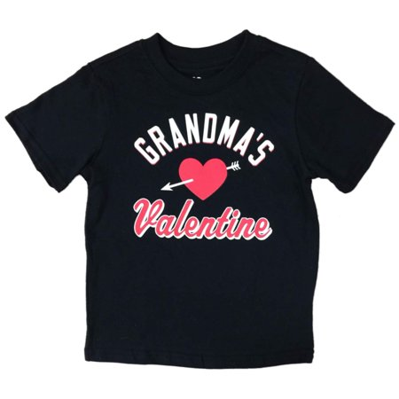 Toddler Boys Black Valentines Day T-Shirt Grandmas Valentine Heart Shirt