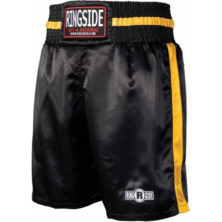 Ringside Pro Style Polysatin Boxing Trunk, Black and Gold Autographed Black Boxing Trunks